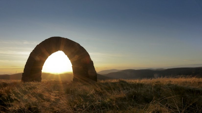 Une des Striding Arches de Andy Goldsworthy, Dumfries and Galloway, Ecosse